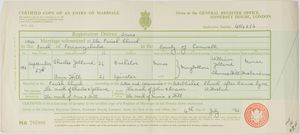 Certified copy of an entry of marriage for Charles Yelland and Ann Hill
