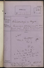 Colonial Office Correspondence Register, re: Letter from Foreign Office on Revolution in Haiti and Reports that British Missionary from Jamaica was Killed, with Related Minutes, January 18, 1908