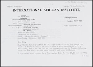 Letter from Basil Wheeler, IAI, to MG, 20 Sep. 1973