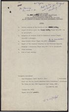 Clean Air Council: Agenda for 3rd Meeting; Review of Action Since the 2nd Meeting; Smoke Density Meter Regulations; Minister's Brief on 3rd Meeting; March 1958
