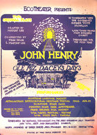 Poster for the EcoTheater's touring productions of John Henry and Ole Miz Dacey's Days by Maryat Lee, performed throughout West Virginia during August of 1975.