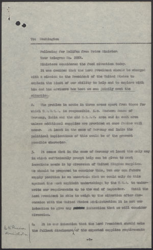 Message from Prime Minister to Lord Halifax re: Food Supplies and Threat of Famine, Undated