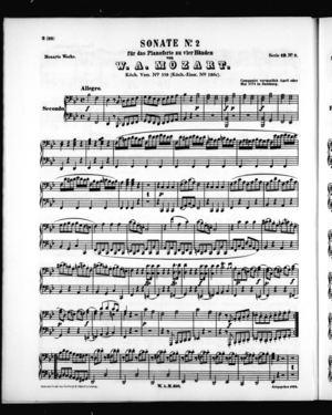 Sonate No. 2 für zwei Pianoforte zu vier Händen, Secondo Part, K. 358, B Flat Major