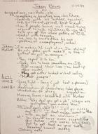 Manuscript Notes and Lyrics for the Acto Johnny Bravo by Teatro Desengano del Pueblo