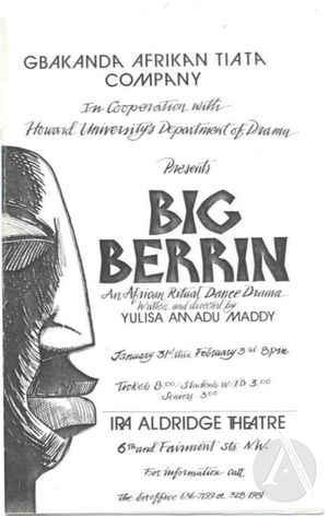 Playbill for <i>Big Berrin</i>, written and directed by Yulisa Amadu Maddy