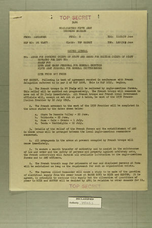 Memo from Alexander to AGWAR for Combined Chiefs of Staff and AMSO British Chiefs, June 1945