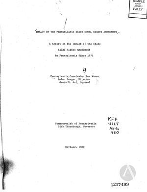 Impact of the Pennsylvania State Equal Rights Amendment: A Report on the Impact of the State Equal Rights Amendment in Pennsylvania Since 1971