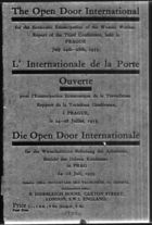 Open Door International for the Economic Emancipation of the Woman Worker. Report of the Third Conference, Held in Prague July 24th-28th, 1933