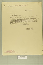 Draft of Letter from Newton D. Baker to the Secretary of State, August, 1919