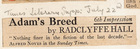 Adam's Breed 6th Impression by Radclyffe Hall -