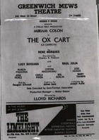 Flyer for a Production of The Oxcart by René Marques at the Greenwich Mews Theater.