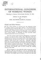 INTERNATIONAL CONGRESS OF WORKING WOMEN Meeting in Geneva, Switzerland, October 17, 1921