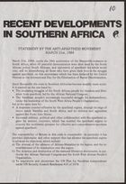 Statement from Anti-Apartheid Movement, re: Recent developments in southern Africa, March 21, 1984