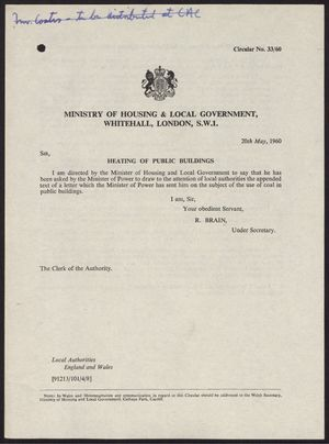 Circular Letter from R. Brain, Ministry of Housing and Local Government, re: Heating of Public Buildings, with Enclosure: National Coal Board Regional Sales Offices, May 20, 1960