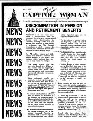 Capitol: Woman, vol. 1 no. 4, August 1973
