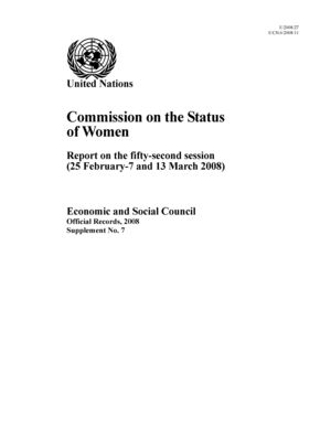 Report on the 52nd Session, New York, 25 February-7 and 13 March 2008