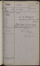 Colonial Office Correspondence Register, re: Letter from Governor Probyn on Appointment of Mr. W. Scholfield as Clerk of Resident Magistrates Court, St. Anne, May 30, 1921
