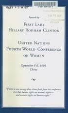 Clinton - UN Fourth World Conference on Women