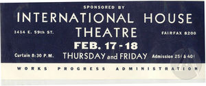 Poster for the International House Theatre