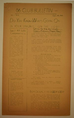 86 Club Bulletin, Vol. 1 no. 3, April 28, 1941