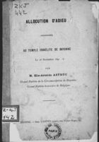 Allocution d'Adieu Prononcée au Temple Israélite de Bayonne, le 28 Novembre 1891