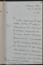 Letter from T. H. Sanderson to Under Secretary of State, Colonial Office, re: Shipment of Vagrants to Jamaica, April 13, 1889
