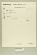 Telegram from Eric Wendelin in Jerusalem to Secretary of State, March 11, 1960