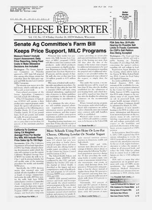 Cheese Reporter, Vol. 132, No. 17, Friday, October 26, 2007