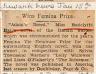 Adam's Breed by Miss Radclyffe Hall: Wins Femina Prize, January 15
