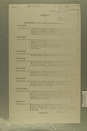 Border Incidents, November 14, 1966 through January 4, 1967