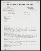 Letter from CDF, Director, International African Institute, to MG, 21 Jan. 1970