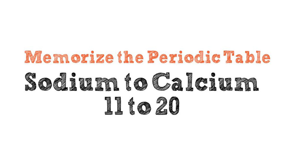 Memorize The Periodic Table Sodium To Calcium 11 To 20 Alexander