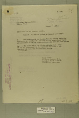 Memo from Henry Jervey re: Killing of Mexican Citizen at Agua Prieta, August 8, 1918