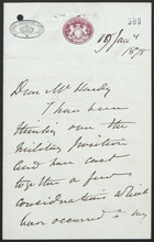 Letter to Mr. Hardy, January 18, 1878