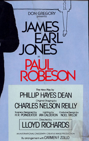 Playbill cover for Paul Robeson by Phillip Hayes Dean, starring James Earl Jones, directed by Lloyd Richards, produced by Don Gregory, 1978