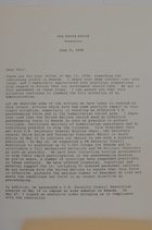 Letter from Bill Clinton to Paul Simon on the situation in Rwanda