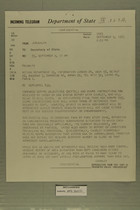 Telegram from William L. Hamilton, Jr. in Jerusalem to Secretary of State, September 9, 1963