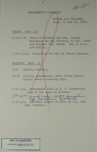 Ambassador Armin H. Meyer's Schedule for September 10 and 11, 1965