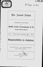 Responsibility in Judaism : Sermons Delivered (in) Temple Beth El, Detroit