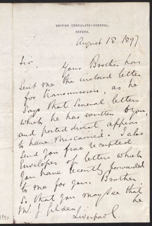 Letter From A Gollam To Mr J Gildea Re Forwarding Brothers