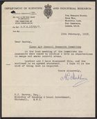 Letter from A. C. Monkhouse to Harrop re: Enclosed Observations in Smogs and Smoke Control Areas, February 19, 1958