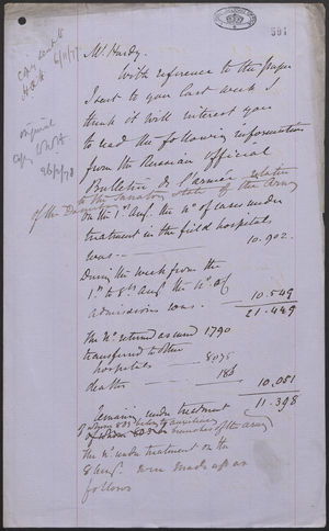 Communication from J. L. A. Simmons to Mr. Hardy, November 5, 1877
