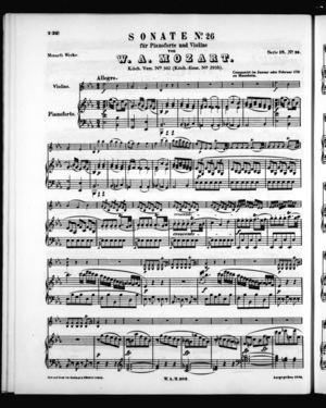 Sonate No. 26 für Pianoforte und Violine