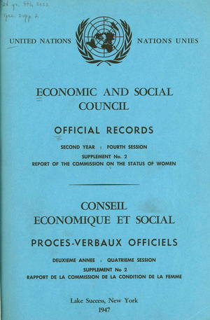 Report of the [First] Commission on the Status of Women (Rapport de la commission de la condition de la femme)