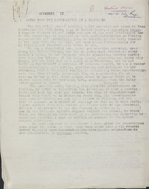 Appendix II: Notes from the Conversation of a Fisherman, November 1939 - May 1940