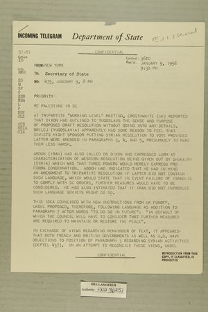 Telegram from Henry Cabot Lodge, Jr. in New York to Secretary of State, January 9, 1956