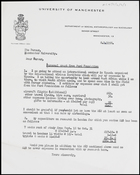 Letter from MG to Bursar, University of Manchester, 8 Nov. 1958