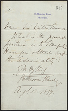 Letter to Sir Lintorn Simmons, August 13, 1877