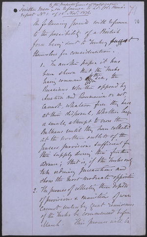 By the Inspector General of Fortification, Further Memo in Reference to Lt. Col. Horne's Request No. 1 of 15, Nov. 1876
