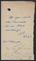 Handwritten Note re:
